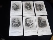 6 BLANK CASSELLS POSTCARDS DICKENS PICKWICK CUTTLE PEGGOTY BETSY WELLERS JINGLE